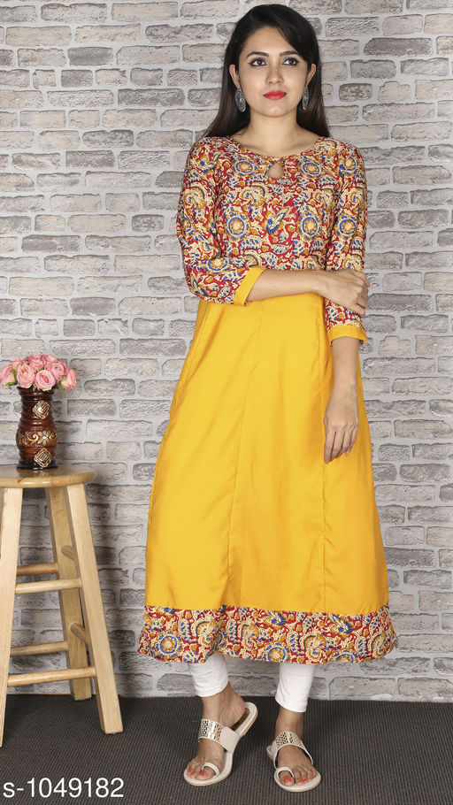 Women Crepe Flared Printed Yellow Kurti