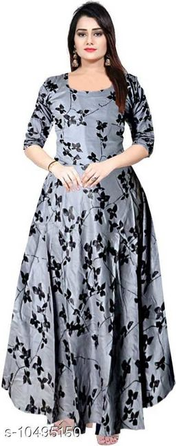 Beautiful grey color rayon full length maxi gown dresses for women