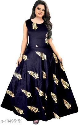 Beautiful black gold full length party wear gown dress