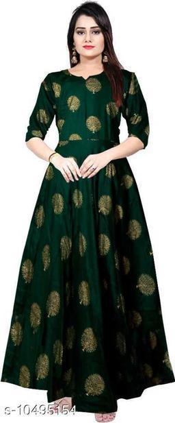 Beautiful green gold rayon full length gown dress