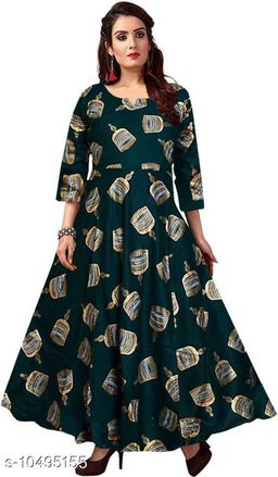Beautiful green gold rayon printed full length gown dress
