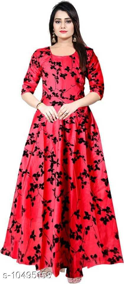 Beautiful Pink color rayon full length maxi gown dresses for women