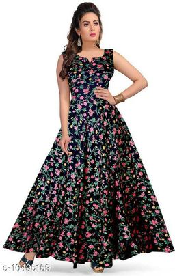 Beautiful Black Floral full length party wear gown dress