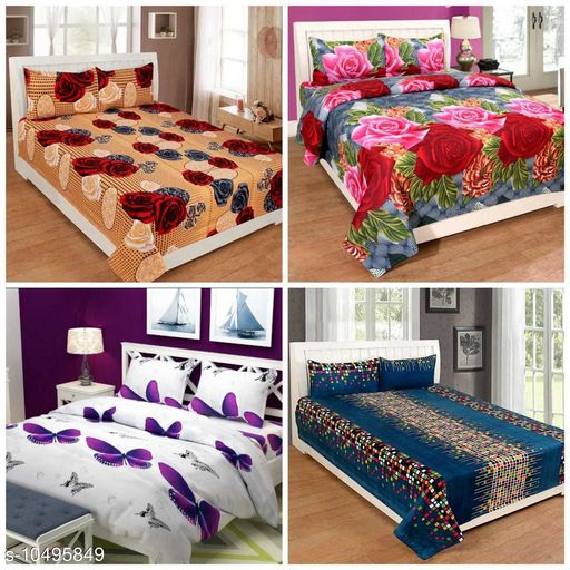 Trendy Printed PolyCotton Bedsheets Combo of 4