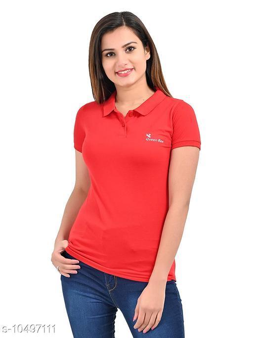 Plush Womens Collar Regular Fit Half Sleeve Tshirt/Tshirts (PT-004)