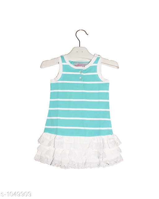 Frocks  Baby Alluring Cotton Knitted Girl's Frock  *Fabric* Cotton Knitted  *Sleeves* Sleeves Are Not Included SizeAge Group (3 Months - 6 Months) - 12 in Age Group (9 Months - 12 Months) - 14 in Age Group (12 Months - 18 Months) - 16 in Age Group (18 Months - 24 Months) - 18 in Age Group (2 - 3 Years) - 20 in  *Type* Stitched  *Description* It Has 2 Pieces Of  Girl's Frocks  *Work* Printed  *Sizes Available* 2-3 Years, 3-6 Months, 9-12 Months, 12-18 Months, 18-24 Months *   Catalog Rating: ★4.3 (171)  Catalog Name: Super Baby Alluring Cotton Knitted Girl's Frocks Vol 1 CatalogID_127678 C62-SC1144 Code: 112-1049909-