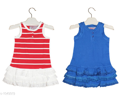 Frocks  Baby Alluring Cotton Knitted Girl's Frocks(Set Of 2)  *Fabric* Cotton Knitted  *Sleeves* Sleeves Are Not Included SizeAge Group (3 Months - 6 Months) - 12 in Age Group (9 Months - 12 Months) - 14 in Age Group (12 Months - 18 Months) - 16 in Age Group (18 Months - 24 Months) - 18 in Age Group (2 - 3 Years) - 20 in  *Type* Stitched  *Description* It Has 2 Pieces Of  Girl's Frocks  *Work* Printed  *Sizes Available* 2-3 Years, 3-6 Months, 9-12 Months, 12-18 Months, 18-24 Months *   Catalog Rating: ★4.3 (171)  Catalog Name: Super Baby Alluring Cotton Knitted Girl's Frocks Vol 1 CatalogID_127678 C62-SC1144 Code: 443-1049919-