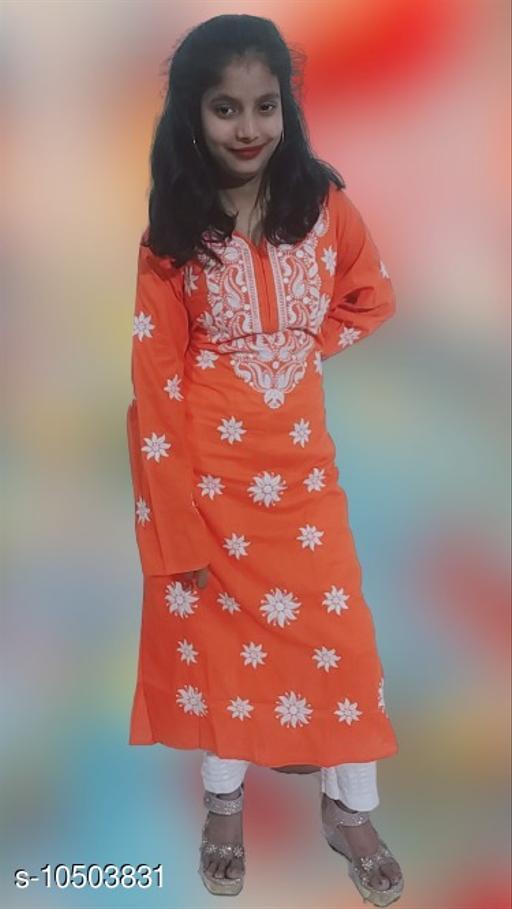 Women Cotton A-line Chikankari Orange Kurti