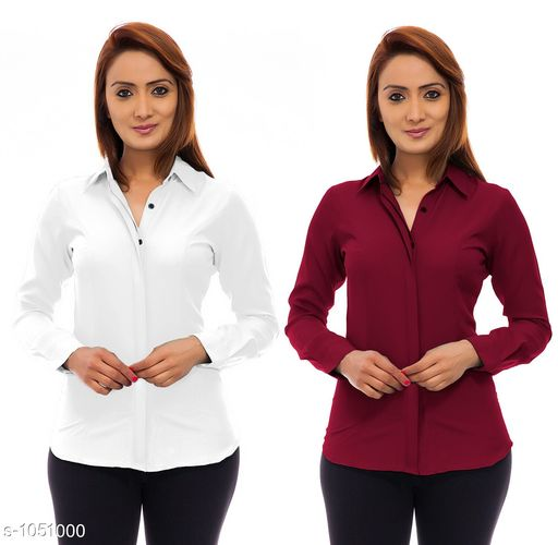 Trendy Poly Crepe Women's Shirts ( Pack Of 2)