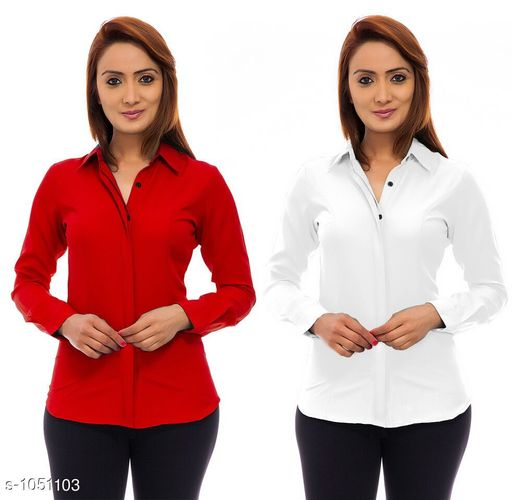 Shirts Trendy Poly Crepe Women's Shirts ( Pack Of 2)  *Fabric* Poly Crepe  *Sleeves* Sleeves Are Included  *Size* S - 36 in, M - 38 in, L - 40 in, XL - 42 in  *Length* Up To 24 in  *Type* Stitched  *Description* It Has 2 Pieces Of Women's Shirt  *Pattern* Solid  *Sizes Available* S, M, L, XL *    Catalog Name: Ladies Polycrepe Shirts Combo Vol 2 CatalogID_128001 C79-SC1022 Code: 205-1051103-