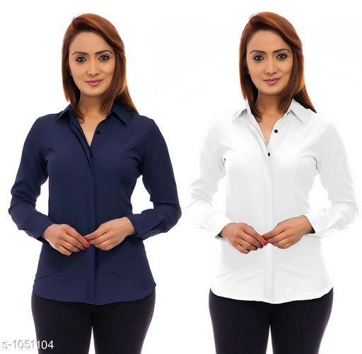 Shirts Trendy Poly Crepe Women's Shirts ( Pack Of 2)  *Fabric* Poly Crepe  *Sleeves* Sleeves Are Included  *Size* S - 36 in, M - 38 in, L - 40 in, XL - 42 in  *Length* Up To 24 in  *Type* Stitched  *Description* It Has 2 Pieces Of Women's Shirt  *Pattern* Solid  *Sizes Available* S, M, L, XL *   Catalog Rating: ★3.9 (117)  Catalog Name: Ladies Polycrepe Shirts Combo Vol 2 CatalogID_128001 C79-SC1022 Code: 205-1051104-