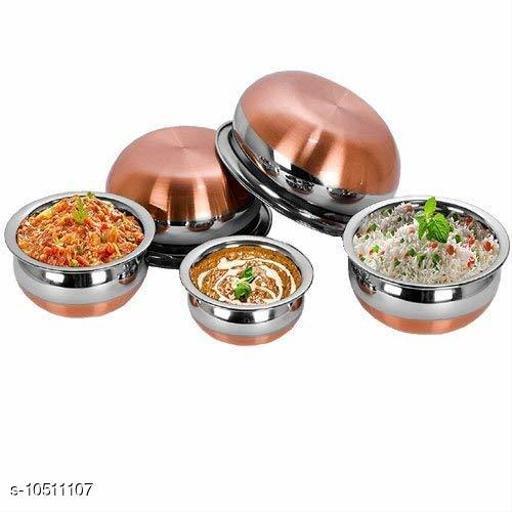 Stainless Steel Copper Bottom Handi Set with Copper Bottom Sauce & Milk Pan Tea & Coffee Pot (set of 5 Pieces, 500ml, 1000ml, 1400ml, 1800ml, 2200ml)
