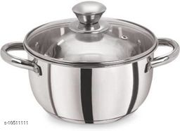 Stainless Steel Induction Bottom Dutch Oven with Glass Lid (16cm, 1litres)