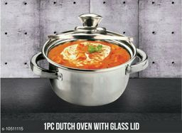 Set of 2 Stainless Steel Induction Bottom Dutch Oven with Glass Lid (18cm, 1.5 litres & 16cm 1 Litre)