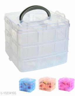 3 Layers, 18 Grids, Transparent Plastic Jewellery Organizer Storage Compartment Box.  Color (Multicolor)