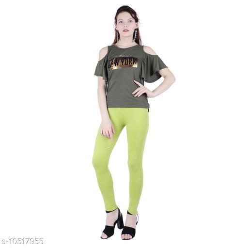 Robinbosky Premium Stretchable Cotton Lycra Mint Green Ankle Length Leggings For Women