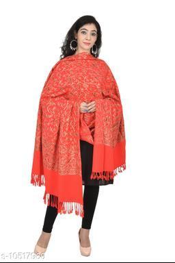 "Womens Embroidery Shawl, Jaal Design, Silk Thread Needlework, Kashmiri Embroidery Design Fine Wool Shawls  (Size 40"" X80"")"
