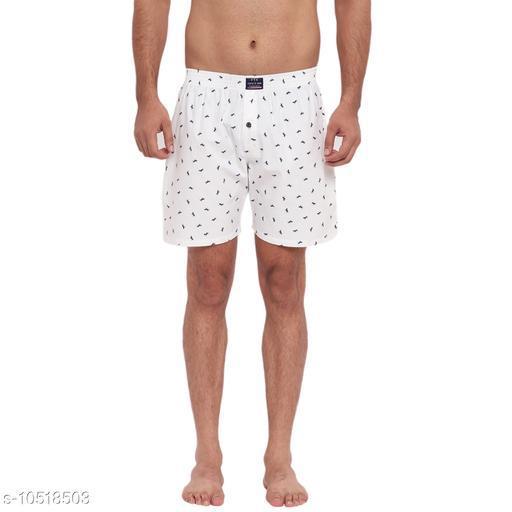 FTX Men's Printed Pure Cotton Shorts - White
