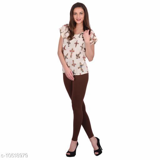 Robinbosky Premium Stretchable Cotton Lycra Dark Chocolate  Ankle Length Leggings For Women