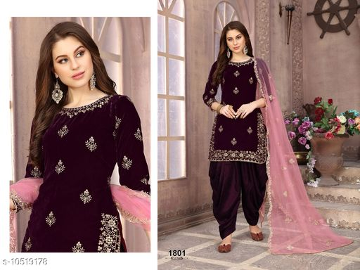 Eye Catching Pink Colored Heavy Velvet With  Embroideried Worked Patiala Style Suit