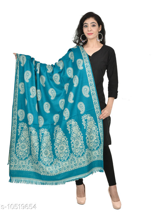 Shawls Woven Border and Paisleys All-Over Wool Shawl,  Printed Shawls (Rama Green Shawl)  *Fabric* Wool  *Pattern* Woven Design  *Multipack* 1  *Sizes*   *Free Size (Length Size* 2 m)  *Sizes Available* Free Size *    Catalog Name: Elegant Fancy Women Shawls CatalogID_1921769 C74-SC1011 Code: 876-10519654-