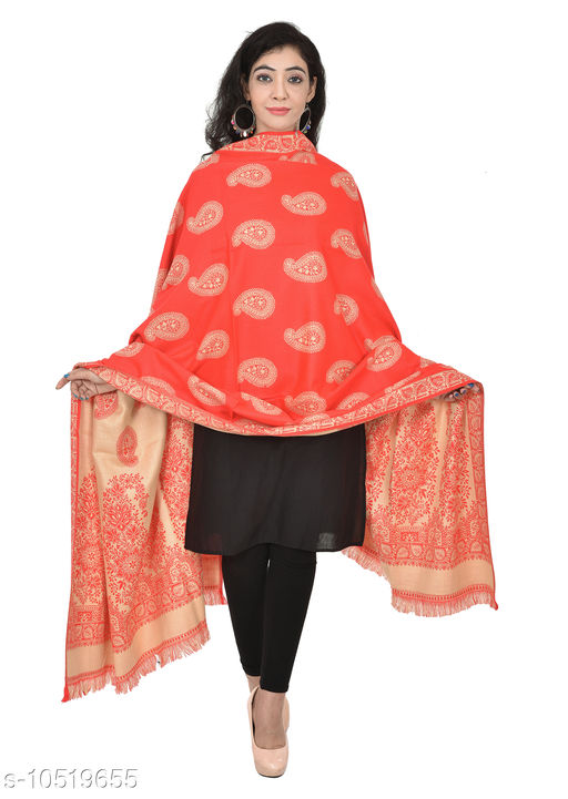 Shawls Woven Border and Paisleys All-Over Wool Shawl,  Printed Shawls (Red Shawl)  *Fabric* Wool  *Pattern* Woven Design  *Multipack* 1  *Sizes*   *Free Size (Length Size* 2 m)  *Sizes Available* Free Size *    Catalog Name: Elegant Fancy Women Shawls CatalogID_1921769 C74-SC1011 Code: 876-10519655-