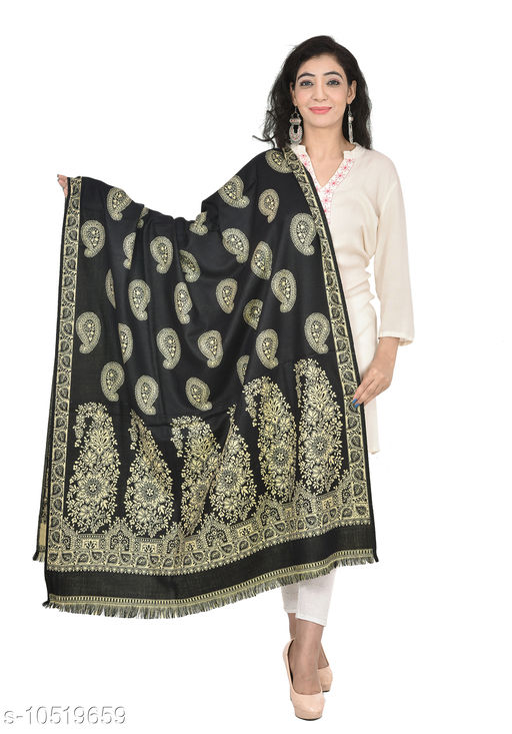 Shawls Woven Border and Paisleys All-Over Wool Shawl,  Printed Shawls (Black Shawl)  *Fabric* Wool  *Pattern* Woven Design  *Multipack* 1  *Sizes*   *Free Size (Length Size* 2 m)  *Sizes Available* Free Size *    Catalog Name: Elegant Fancy Women Shawls CatalogID_1921769 C74-SC1011 Code: 876-10519659-