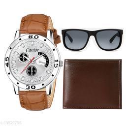 Silver Watch,Wallet,Sunglass For Men