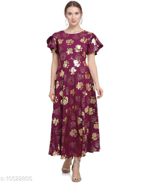 Women'S Crepe A-Line Maxi Dress - Eggplant Purple
