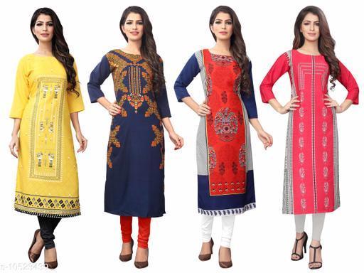 Women's Crepe Digital Print Dress (Pack Of 4)
