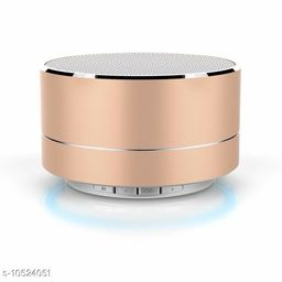 A10 Bluetooth Wireless Stereo Mini Speaker with FM, Micro SD and USB Slot Golden