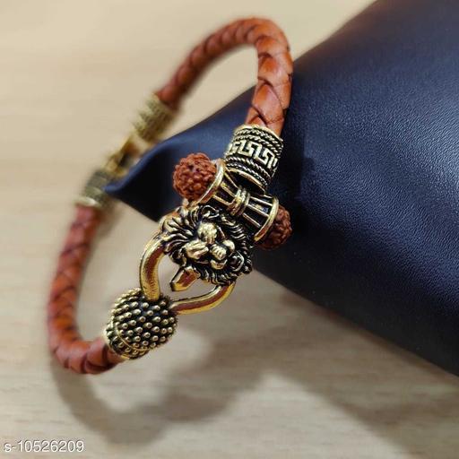 Om Rudraksha singh Damaroo Leather Kada Bracelets For Boys and Mens