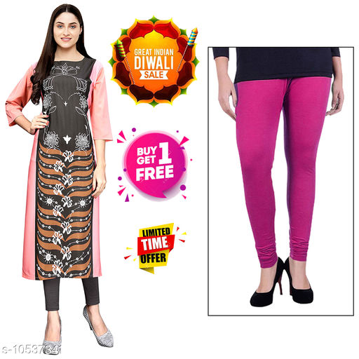 Kurtis & Kurtas Diwali Offer Buy 1 Stylish Women's Crepe Digital Printed kurti Get 1 Free Cotton Leggings.  *Fabric* Crepe  *Sleeve Length* Three-Quarter Sleeves  *Pattern* Printed  *Combo of* Combo of 2  *Sizes*   *S (Bust Size* 36 in, Size Length  *XL (Bust Size* 42 in, Size Length  *4XL (Bust Size* 48 in, Size Length  *L (Bust Size* 40 in, Size Length  *M (Bust Size* 38 in, Size Length  *XXL (Bust Size* 44 in, Size Length  *XXXL (Bust Size* 46 in, Size Length  *Sizes Available* S, M, L, XL, XXL, XXXL, 4XL *    Catalog Name: Abhisarika Attractive Kurtis CatalogID_1925907 C74-SC1001 Code: 392-10537341-