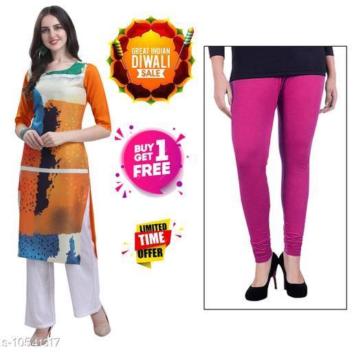 Kurtis & Kurtas Diwali Offer Buy 1 Stylish Women's Crepe Digital Printed kurti Get 1 Free Cotton Leggings.  *Fabric* Crepe  *Sleeve Length* Three-Quarter Sleeves  *Pattern* Printed  *Combo of* Combo of 2  *Sizes*   *S (Bust Size* 36 in, Size Length  *XL (Bust Size* 42 in, Size Length  *4XL (Bust Size* 48 in, Size Length  *L (Bust Size* 40 in, Size Length  *M (Bust Size* 38 in, Size Length  *XXL (Bust Size* 44 in, Size Length  *XXXL (Bust Size* 46 in, Size Length  *Sizes Available* S, M, L, XL, XXL, XXXL, 4XL *    Catalog Name: Abhisarika Alluring Kurtis CatalogID_1926779 C74-SC1001 Code: 392-10541317-