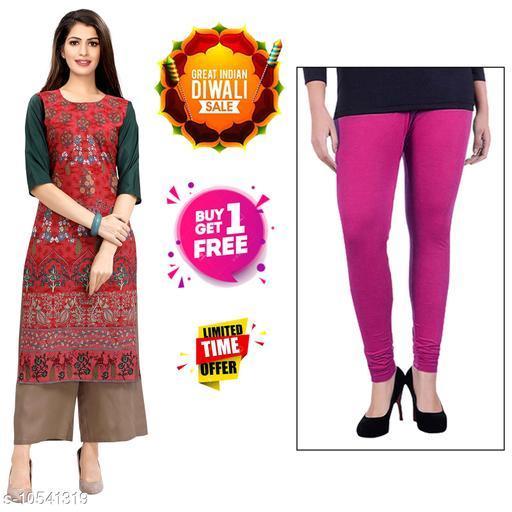 Kurtis & Kurtas Diwali Offer Buy 1 Stylish Women's Crepe Digital Printed kurti Get 1 Free Cotton Leggings.  *Fabric* Crepe  *Sleeve Length* Three-Quarter Sleeves  *Pattern* Printed  *Combo of* Combo of 2  *Sizes*   *S (Bust Size* 36 in, Size Length  *XL (Bust Size* 42 in, Size Length  *4XL (Bust Size* 48 in, Size Length  *L (Bust Size* 40 in, Size Length  *M (Bust Size* 38 in, Size Length  *XXL (Bust Size* 44 in, Size Length  *XXXL (Bust Size* 46 in, Size Length  *Sizes Available* S, M, L, XL, XXL, XXXL, 4XL *    Catalog Name: Abhisarika Alluring Kurtis CatalogID_1926779 C74-SC1001 Code: 392-10541319-