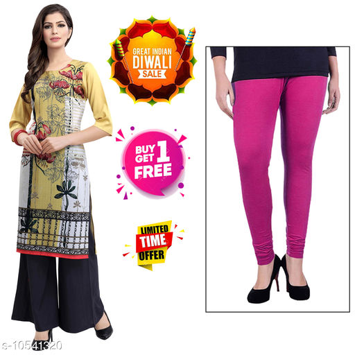Kurtis & Kurtas Diwali Offer Buy 1 Stylish Women's Crepe Digital Printed kurti Get 1 Free Cotton Leggings.  *Fabric* Crepe  *Sleeve Length* Three-Quarter Sleeves  *Pattern* Printed  *Combo of* Combo of 2  *Sizes*   *S (Bust Size* 36 in, Size Length  *XL (Bust Size* 42 in, Size Length  *4XL (Bust Size* 48 in, Size Length  *L (Bust Size* 40 in, Size Length  *M (Bust Size* 38 in, Size Length  *XXL (Bust Size* 44 in, Size Length  *XXXL (Bust Size* 46 in, Size Length  *Sizes Available* S, M, L, XL, XXL, XXXL, 4XL *    Catalog Name: Abhisarika Alluring Kurtis CatalogID_1926779 C74-SC1001 Code: 392-10541320-