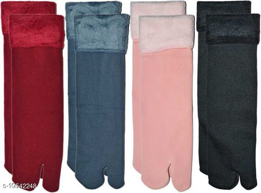 PINKIT Soft & Cozy Solid Winter Thick Warm Fleece Lined Thermal Stretchy Elastic Velvet with Thumb Socks for Girls/Ladies/Women)(4 Pairs)- Multicolor