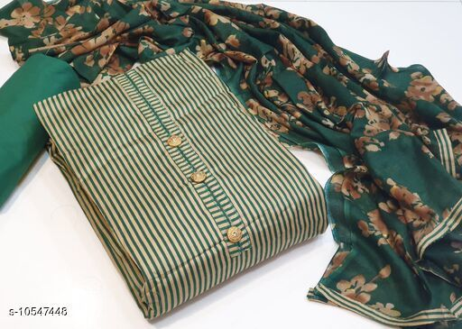 Suits & Dress Materials Alisha Superior Salwar Suits & Dress Materials  *Top Fabric* Pakistani Cotton + Top Length  *Bottom Fabric* Cotton + Bottom Length  *Dupatta Fabric* Cotton + Dupatta Length  *Type* Un Stitched  *Pattern* Printed  *Multipack* Single  *Sizes Available* Un Stitched *    Catalog Name: Alisha Superior Salwar Suits & Dress Materials CatalogID_1928211 C74-SC1002 Code: 607-10547448-