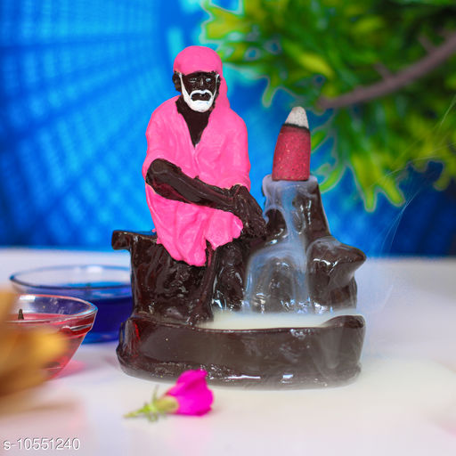 iHandikart Handicrafts Sai Baba Dhoop/Incense Holder/Smoking Fountain Pink Colour with 10 Backflow Incense Cones, Polyresin Material (IHK21048)