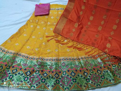 Lehengas Fancy Satin Lehenga  *Topwear Fabric* Banarasi Lehenga  *Bottomwear Fabric* Banarasi Lehenga  *Dupatta Fabric* Banarasi Lehenga  *Set type* Choli And Dupatta  *Sizes*   *Semi Stitched (Lehenga Waist Size* 40 in, Lehenga Length Size  *Sizes Available* Semi Stitched *    Catalog Name: Aagyeyi Pretty Women Lehenga CatalogID_1929793 C74-SC1005 Code: 3581-10553695-