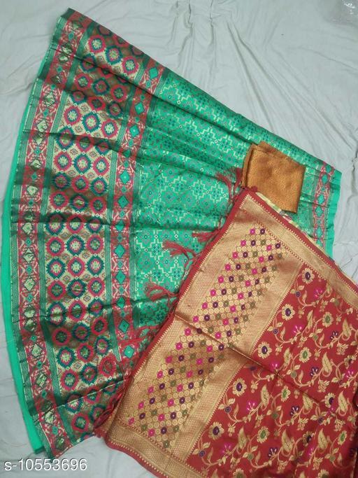 Lehengas Fancy Satin Lehenga  *Topwear Fabric* Banarasi Lehenga  *Bottomwear Fabric* Banarasi Lehenga  *Dupatta Fabric* Banarasi Lehenga  *Set type* Choli And Dupatta  *Sizes*   *Semi Stitched (Lehenga Waist Size* 40 in, Lehenga Length Size  *Sizes Available* Semi Stitched *    Catalog Name: Aagyeyi Pretty Women Lehenga CatalogID_1929793 C74-SC1005 Code: 3581-10553696-