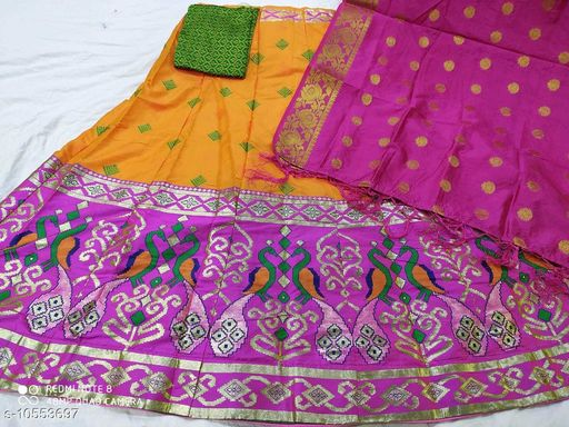 Lehengas Fancy Satin Lehenga  *Topwear Fabric* Banarasi Lehenga  *Bottomwear Fabric* Banarasi Lehenga  *Dupatta Fabric* Banarasi Lehenga  *Set type* Choli And Dupatta  *Sizes*   *Semi Stitched (Lehenga Waist Size* 40 in, Lehenga Length Size  *Sizes Available* Semi Stitched *    Catalog Name: Aagyeyi Pretty Women Lehenga CatalogID_1929793 C74-SC1005 Code: 3581-10553697-