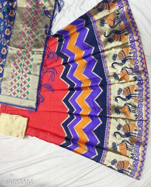 Lehengas Fancy Satin Lehenga  *Topwear Fabric* Banarasi Lehenga  *Bottomwear Fabric* Banarasi Lehenga  *Dupatta Fabric* Banarasi Lehenga  *Set type* Choli And Dupatta  *Sizes*   *Semi Stitched (Lehenga Waist Size* 40 in, Lehenga Length Size  *Sizes Available* Semi Stitched *    Catalog Name: Aagyeyi Pretty Women Lehenga CatalogID_1929793 C74-SC1005 Code: 3581-10553698-