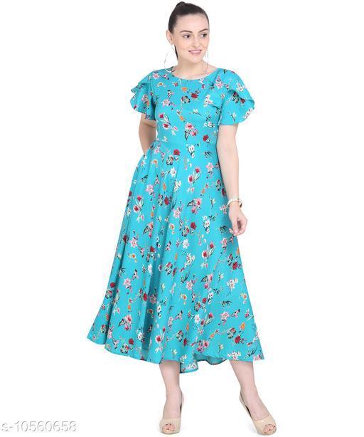 Women'S Crepe A-Line Maxi Dress - Sea Green