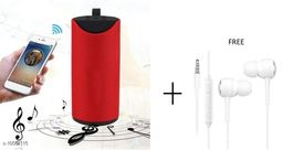 TG113 Super Bass Splash Proof Wireless Bluetooth Speaker Best Sound Quality Playing with All Device(RED) with free earphone