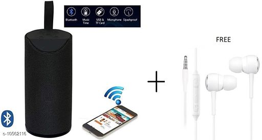 TG113 Super Bass Splash Proof Wireless Bluetooth Speaker Best Sound Quality Playing with All Device(BLACK) with free earphone