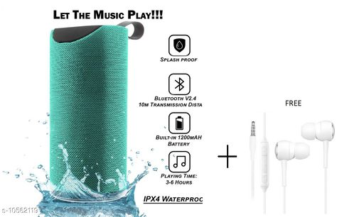 TG113 Super Bass Splash Proof Wireless Bluetooth Speaker Best Sound Quality Playing with All Device(GREEN) with free earphone