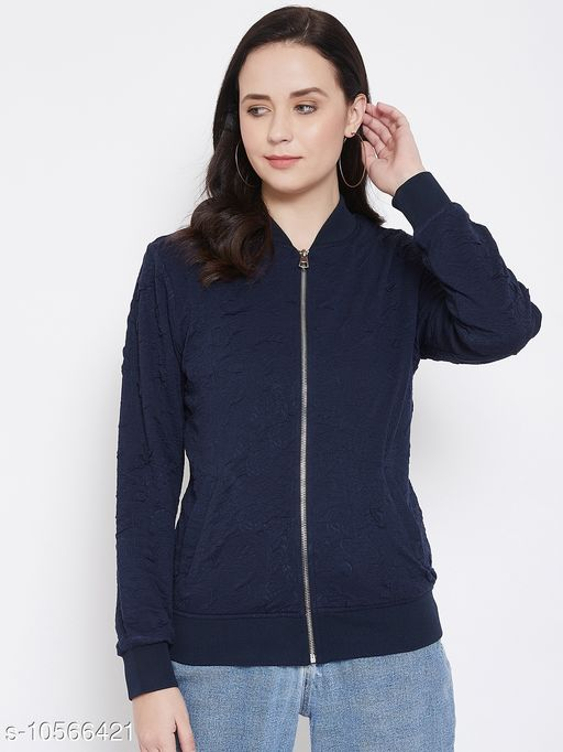 Austin Wood Women's Navy Blue Full Sleeves Bomber Neck Sweatshirt
