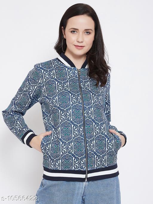 Austin Wood Women's Blue Full Sleeves Bomber Neck Printed Sweatshirt