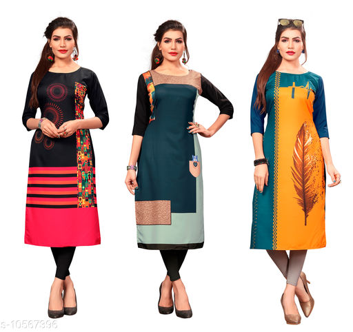 Women's Printed Full-Stitched Crepe Straight Kurti(Combo Pack Of 3)